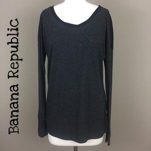 Banana Republic Charcoal & Black Top Size Small